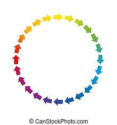 gekleurde, regenboog, pijl, circuit, cirkel