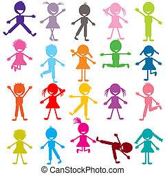 gekleurde, set, van, gekke , kinderen spelende