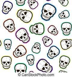 gekleurde, skulls., model, seamless, illustratie, vector