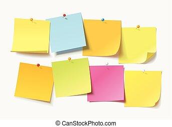 gekleurde, spelden, aantekening, bladen, papieren, duw,...