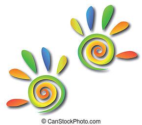 gekleurde, spiraal, handen, met, fingers., vector