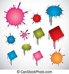 gekleurde, stippen, inkt