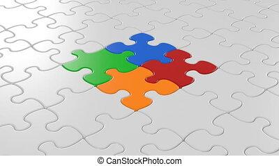 gekleurde, stukken, van, raadsel, tred, de, center., zakelijk, samenwerking, concept., groene, scherm, alfa, mask., 4k, uhd, 3840x2160.