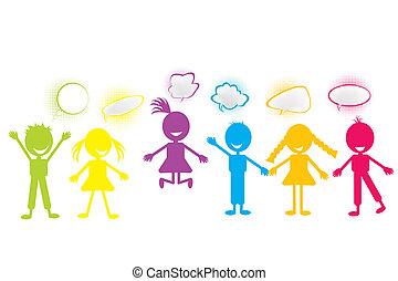 gekleurde, stylized, kinderen, met, praatje, bellen