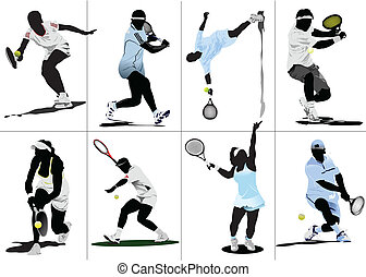 gekleurde, tennis, player., illustratie, vector, ontwerpers