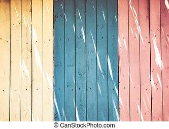 gekleurde, textuur, van, houten, droog, omheining, raad