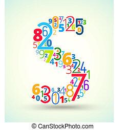 gekleurde, vector, getallen, brief s, lettertype