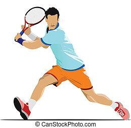gekleurde, vector, illu, player., tennis