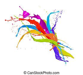 gekleurde, verf , plonsen, vrijstaand, op wit, achtergrond