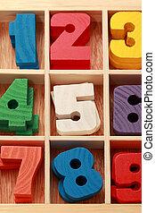 gekleurde, verticaal, houten, leeftijd, spel, getallen, ...
