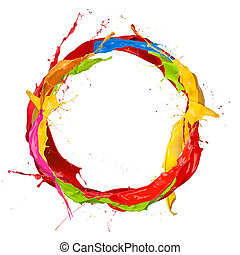 gekleurde, verven, plonsen, cirkel, vrijstaand, op wit,...