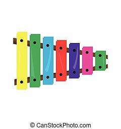 gekleurde, xylofoon, speelbal, pictogram