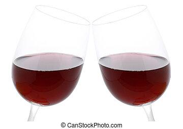 geklirr brille, mit, rotwein