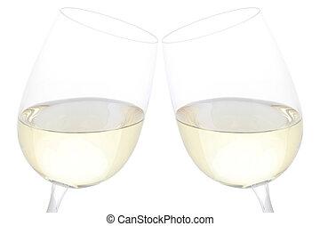 geklirr brille, mit, weißwein