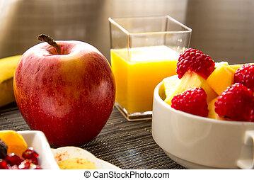 gekookte eieren, hard, nutricious, afgesnijdenene, fruit, ...