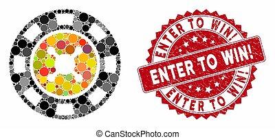 gekraste, binnengaan, splinter, collage, postzegel, win!, casino