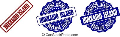 gekraste, eiland, postzegel, hokkaido, zegels