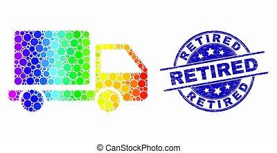 gekraste, gepensioneerd, dotted, postzegel, helder, vector, zeehondje, vrachtwagen, pictogram
