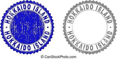 gekraste, grunge, postzegel, eiland, zegels, hokkaido