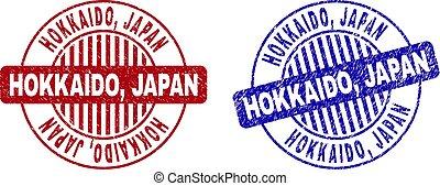 gekraste, grunge, postzegels, hokkaido, japan, ronde