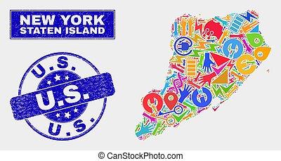 gekraste, kaart, industriebedrijven, postzegel, eiland,...