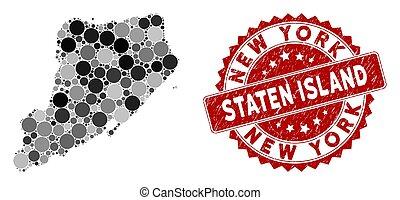 gekraste, kaart, postzegel, mozaïek, staten eiland, cirkel,...