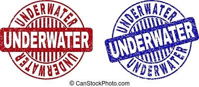 gekraste, onderwater, postzegels, grunge, ronde