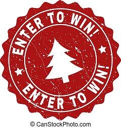 gekraste, postzegel, binnengaan, fir-boom, zeehondje, win!