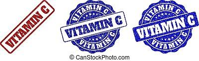 gekraste, postzegel, c, vitamine, zegels