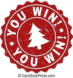 gekraste, postzegel, fir-boom, zeehondje, u, win!