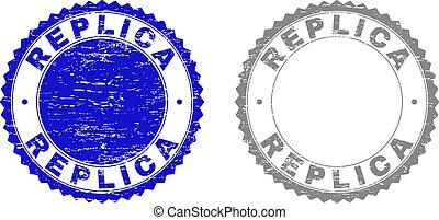 gekraste, postzegel, reproductie, grunge, zegels