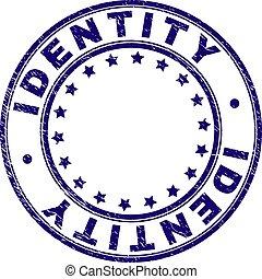 gekraste, postzegel, textured, zeehondje, ronde, identiteit