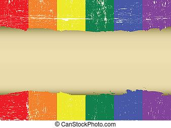 gekraste, regenboog, vlag, vrolijk