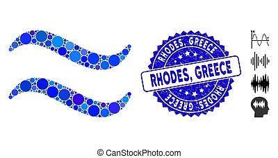 gekraste, rhodes, mozaïek, griekenland, pictogram, postzegel...