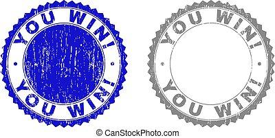 gekraste, u, win!, grunge, postzegels
