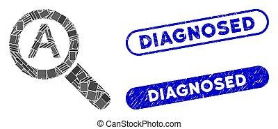 gekratzt, briefmarken, collage, skala, diagnosed, zoom, auto, rechteck