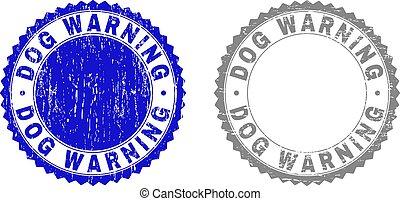 gekratzt, briefmarken, warnung, grunge, hund