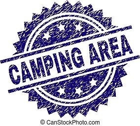gekratzt, camping, bereich, briefmarke, siegel, textured