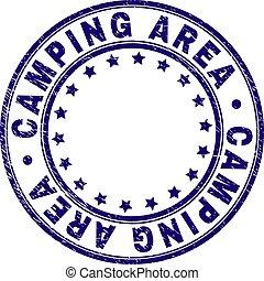 gekratzt, camping, bereich, briefmarke, textured, siegel, runder
