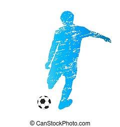 gekratzt, silhouette, treten, spieler, vektor, fußball
