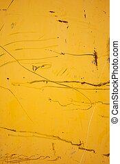 gekratzt, wand, gemalt, metall, gelber
