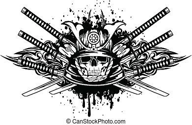 gekreuzt, helm, schwerter, totenschädel, samurai