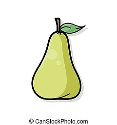 gekritzel, birne, früchte