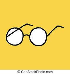 gekritzel, brille