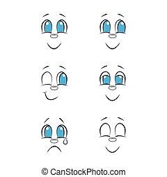 gekritzel, emotions., zeichnung, set., gesichter, hand, gezeichnet