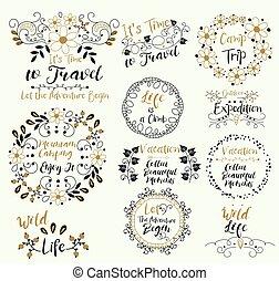 gekritzel, genießen, karte, briefmarken, elements., trip., schöne , rahmen, ..let, berg, lager, abenteuer, begin., life., sammeln, vektor, moments., heiligenbilder, zeit, vacation., travel., abzeichen, set., climb., draußen, aufkleber, design, weinlese, insignias, expedition., it.wild, logotypes, camping.