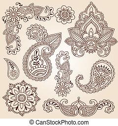 gekritzel, henna, entwerfen elemente, mehndi