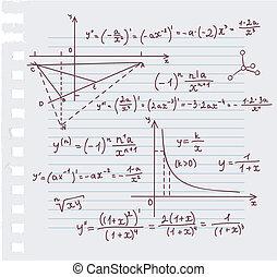 gekritzel, hintergrund, algebra