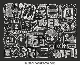 gekritzel, hintergrund, internet