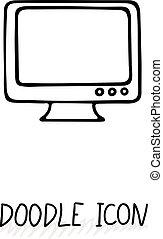 gekritzel, ikone, von, monitor., desktop-computer, monoblock.
